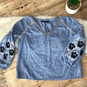 ZARA embroidered top Blue Sz Small